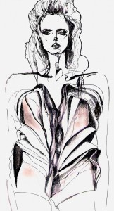 Catwalk Illustrations by Marina Beresford-Stooke from recent fashion week show1
